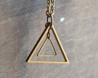 Triange Necklace - Geometric Necklace - Brass Geo Necklace - Modern Geometric Jewelry - Minimalist Jewelry - Nesting Triangles