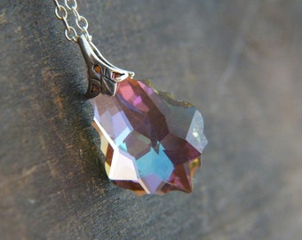 Crystal Necklace - Sterling Silver Necklace - Pink Purple Blue Yellow Necklace - Iridescent Crystal Necklace - Shimmer Glitter Jewelry
