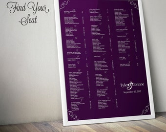 Wedding Seating Chart - Corner Scrolls - Custom Digital Printable File