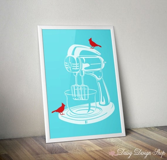 Art Print - Stand Mixer with Birds - Kitchen Appliance Silhouette - 8x10 or Larger in Your Choice of Color