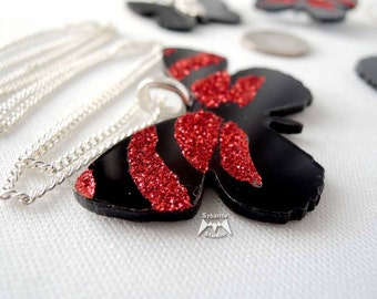 Elegant Red Butterfly Small Pendant