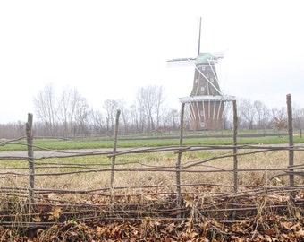 DeZwaan Dutch Windmill in Holland Michigan during late fall No.232 - A Landscape Photograph