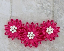 Flower Cluster Necklace, Fuchsia Necklace, Fuchsia Flower Jewelry, Hot Pink Jewelry, Hot Pink Necklace, Fuchsia Wedding, Fuchsia Jewelry