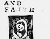 Peace Love and Faith letterpress and linoprint