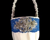 Sparkling Crystal Centered Flower Girl Basket with Your Choice of Band Color Shown in Royal Blue