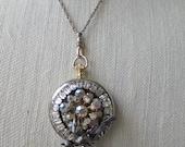 OOAK locket, upcycled locket, one of a kind locket, repurposed jewelry, locket pendant, art assemblage locket, estate jewelry