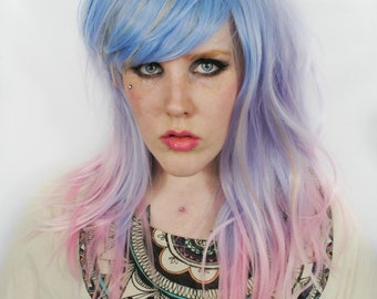 SALE Pastel wig, Purple Scene wig, Pink Ombre Cosplay wig - Straight Wavy Hipster Indie | Magic Unicorn