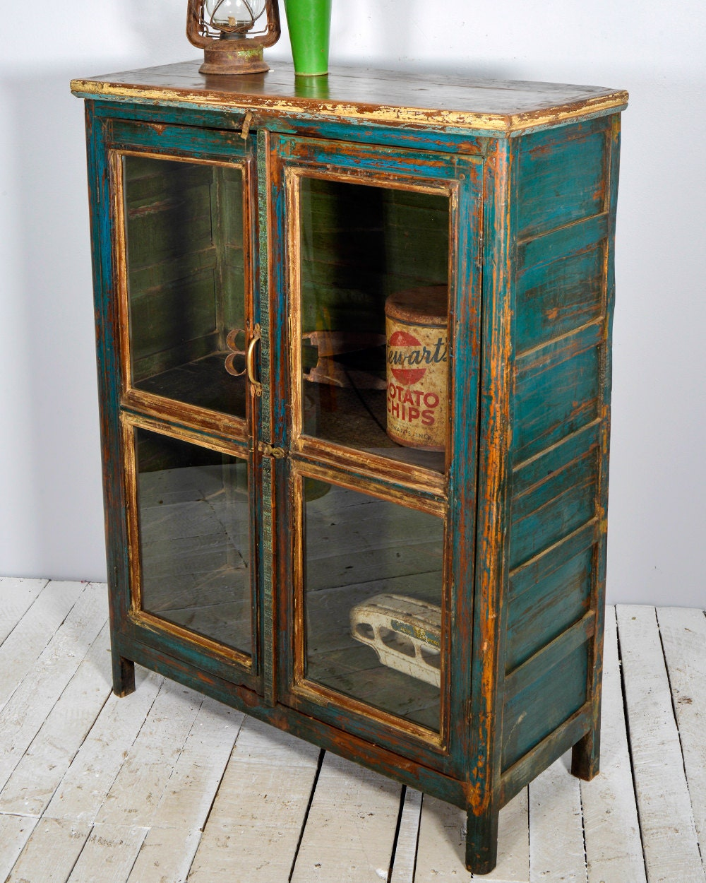 Scenic Green And Blue Vintage Kitchen Cabinet Storage Also: Antique Farm Chic Warm Industrial Turquoise And Hunter Green