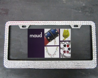 License Plate Holder encrusted with Swarovski Crystals 5 Row