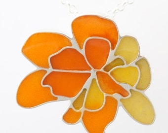 Sterling Silver  Resin Resinate Wisha Necklace- Yellow Orange