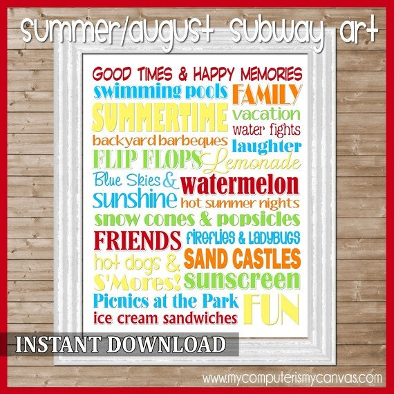 Summer or August Subway Art - Printable INSTANT Download