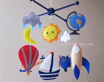 Hot air balloon mobile - travel theme baby mobile - globe crib mobile - blue baby boy mobile - space Neutral mobile