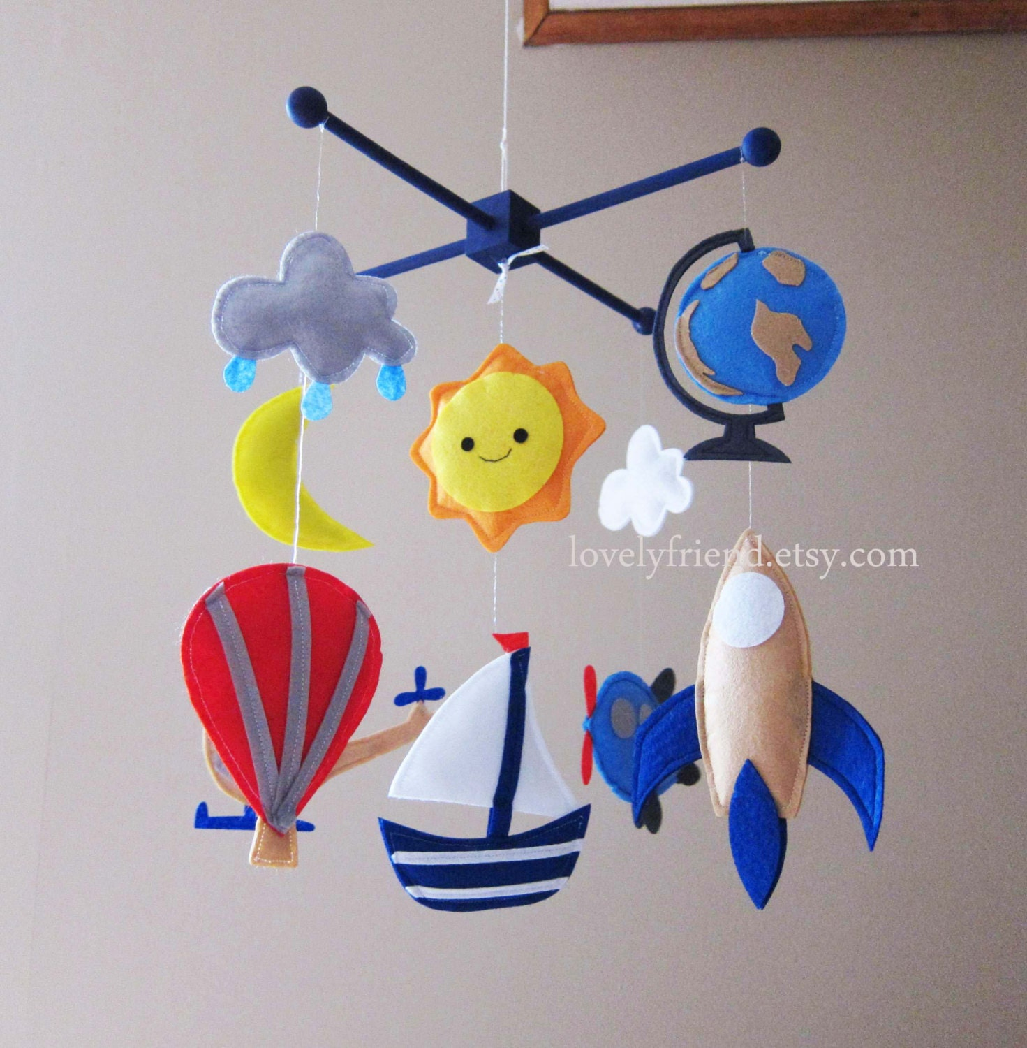 Hot air balloon mobile travel theme baby mobile by lovelyfriend