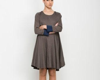 Knee length Women dress, Long sleeve dress, Brown Dress, short winter dress, casual mini dress, cotton dress, linen dress