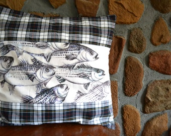Fish Pillow, Fishing Decor, Rustic Pillow Cover - Plaid Pillow, Striped Bass Pillow, Husband Gift, Fishing Dad Gift, Boat Decor