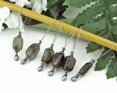 Knitting Stitch Markers, Labradorite Semi-Precious Stones, Snag Free, Large Size, Knitters Gift, Jeweled Tool, Knitting Accessory, Supplies