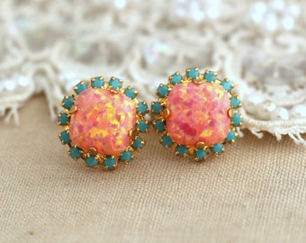 Opal Peach Orange Turquoise Stud earrings Swarovski Crystal earring bridesmaid jewelry Gift for woman thick Gold plated rhinestone earrings