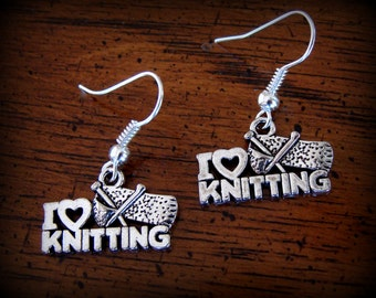 I LOVE KNITTING Earrings - Vintage Art Deco Antique Style - Sewing theme Jewelry