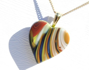 Heart Pendant, Fused Glass Jewelry - Hidden Earth Series, Art Glass - Swirls of Color, Red, Blue, Orange Green (Item 10636-P)