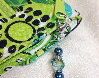 Beaded Dove Zipper Pull Jewelry, Blue Key Chain Charm, Crochet Stitch Marker, Purse Jewelry, Necklace Pendant