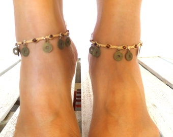 Chinese Coin & Jute Anklet