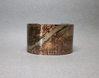 Portland Oregon Map Cuff Bracelet Unique Hometown Travel Gift for Men or Women