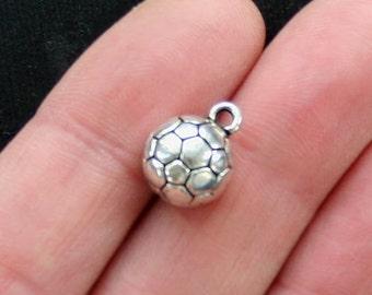 4 Soccer Ball Charms Antique  Silver Tone 3D - SC2894