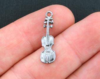15 Violin Charms Antique Gunmetal Tone - SC3885