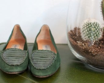 vintage green loafers size 7 1/2