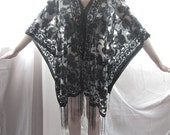 SALE Black Kaftan Fringe Boho Chic Summer 2015 Embroidery Damask Floral Indian Poncho Gothic Grecian Shawl LOTR Coverup Elven Bohemian Tunic