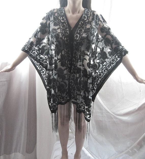 SALE Black Kaftan Fringe Boho Chic Summer 2015 Embroidery Damask Floral Indian Poncho Gothic Grecian Shawl LOTR Coverup Elven Bohemian Tunic