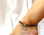 Heart of My Heart Anklet Dramatic Black Anklet Fusion Copper Silver Ankle Bracelet