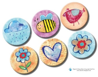 Spring Creatures 1 inch circles. Watercolor Bottle caps printable images. Digital collage sheet for bottlecaps. Heart, bee, rainy cloud