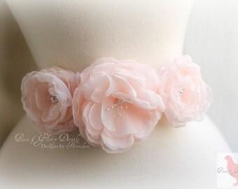 Bridal Pale Blush Pink Floral Sash Belt - Bridal Vintage Style Wedding - Chiffon Floral Sash