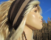Wide Stretchy Knit Headband Hairband Brown Tan Cotton StripedHair Wrap  A1230