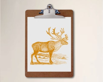 Nursery Kids Room Art Print Forest Caribou Animal Woodland Orange