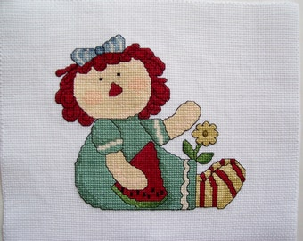 Raggedy Ann Completed Cross Stitch on White Aida Cloth - Finished Cross Stitch, Completed X Stitch, Raggedy Ann Doll Cross Stitch