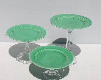 Cake Cupcake Pedestal Stand Jadite Green Handcrafted HandmadeUpcycled OOAK - Set of 3