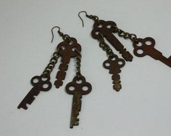 Vintage Keys Handcrafted Repurposed Assemblage Earrings OOAK