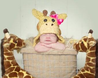 Giraffe Baby Hat - Halloween Costume - Infant Giraffe Animal Baby Hat - Baby Costume Hat - by JoJosBootique