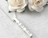 New Mommy Necklace - 4 four sided Bar - Name, date, weight, length  - Sterling silver