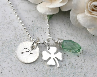 Four Leaf Clover and Initial Necklace - with briolette - sterling silver