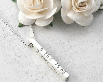 New Mommy Necklace - 4 four sided Bar - Name, date, weight, length  - 3D bar - Sterling silver
