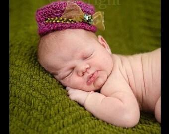 Newborn Pillbox Hat,  Crochet Pillbox Hat, Baby Pillbox Hat, Newborn Girl Photo Prop, Baby Hat PHOTO PROP