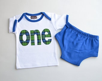 Ready to Ship Boys Plaid Birthday Shirt and Diaper Cover Outfit Set, Size 12-18m, White and Royal Blue, 1st Birthday Pictures, 12m 18m
