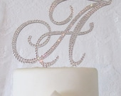 Monogram Cake Toppers - Swarovski crystal handmade custom wedding cake toppers with removable stakes.