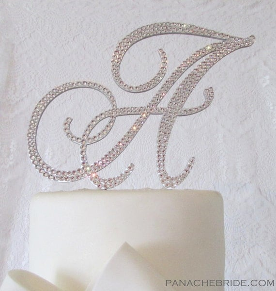monogram wedding cake toppers with swarovski crystals monogram cake toppers swarovski handmade custom 17528