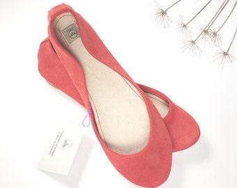 Geranium Soft Suede Handmade Ballet Flats