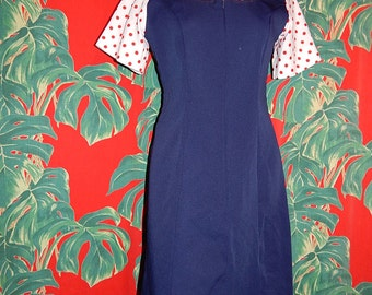 Groovy vintage 60's navy blue white red polka dots mod A line go go girl dress by Fashion Seal - M / L