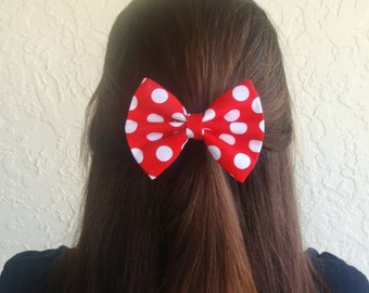 Hair Bow Vintage Inspired 1920s Red with White Polka Dots Hair Bow Clip Rockabilly Pin up Teen Woman